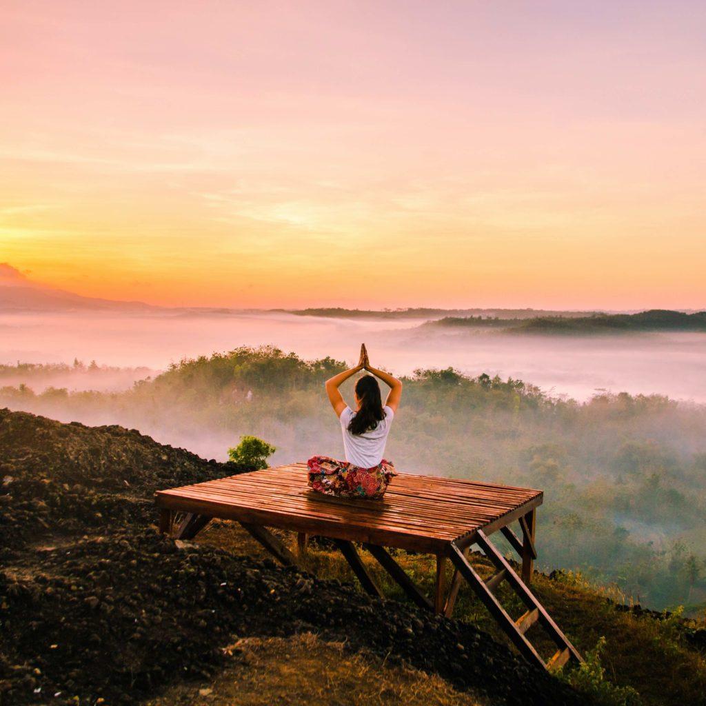 Yogi während Yoga-Ausbildung auf Bali